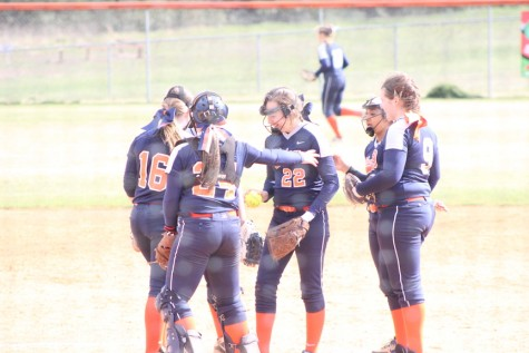 Photo courtesy of Cherissa Vinson. The Lady Blaze huddle up before the first batter comes to the plate in the first game against Franklin County.