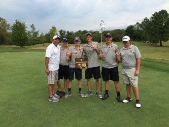 Here is all of our Blaze Boys Golf Team, posing with their Coach Barry Wortman.