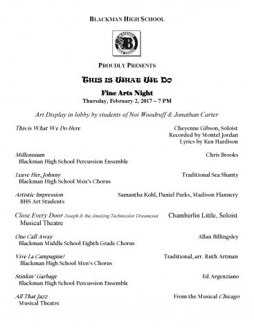 Schedule for Fine Arts Night at BHS