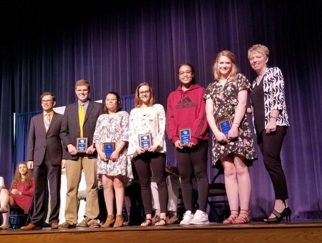 Mr. Wortham presented five people with awards in the fine arts. Graison Sweeny for Band; Yuli Gonzalez for Sculpture; Kayla Zuck for Best Actress; Jania Boddie for AP Studio Art; Katie Hartman for Theatre III.