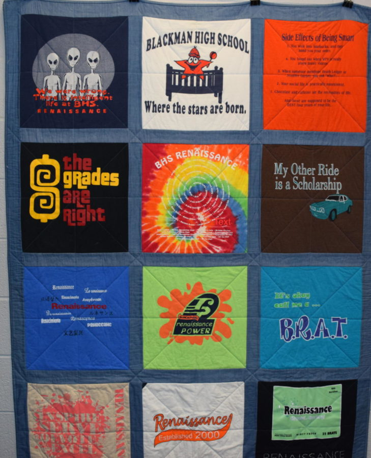 The Renaissance quilt located in the Ren. room is made from t-shirts from BHS's Renaissance's history.