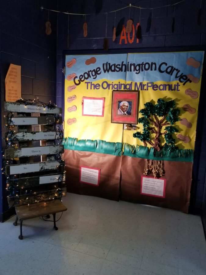 Ms. Willette's door also won for Best Overall, depicting George Washington Carver and his peanut tree.