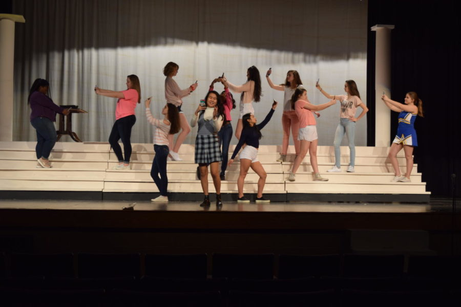 The actresses rehearse the opening scene of the show.
