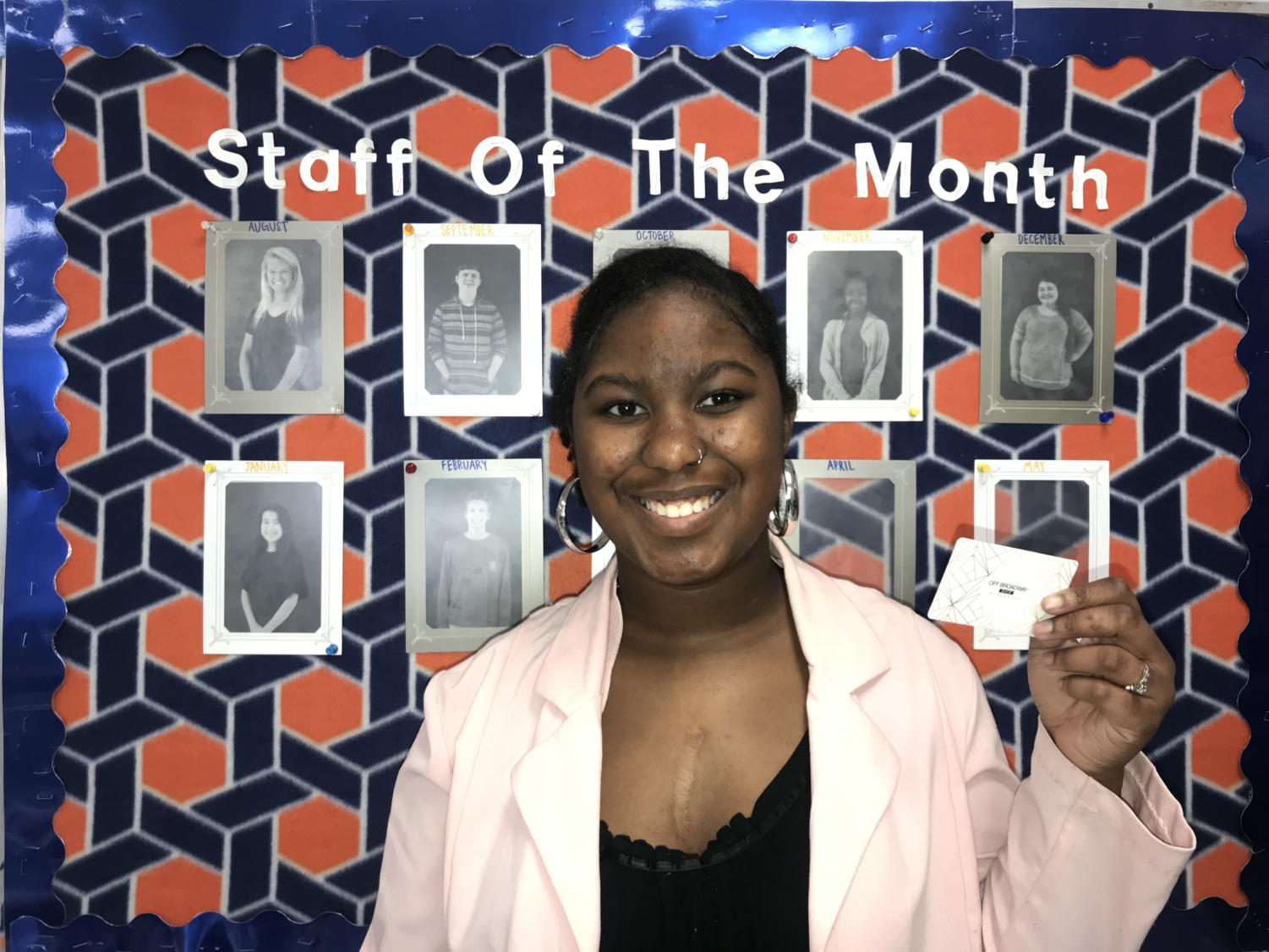 Congratulations to our March Staff of the Month! Nikera Simpson, won a gift card to Off Broadway, courtesy of our partner The Avenue.