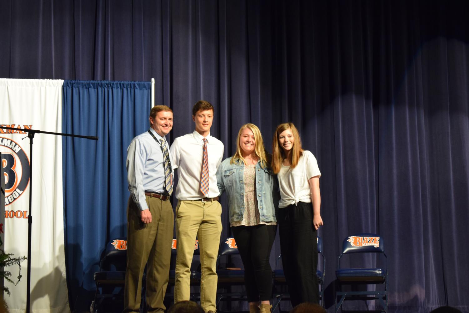 Sophomore Class Student Council: Jonathan Burks, Mollie Stone, and Allyson Rome.