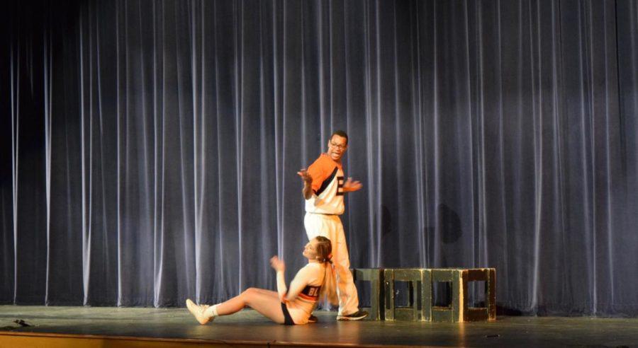 Hope Sledge and Aubrey Caster, seniors, preforming their skit.