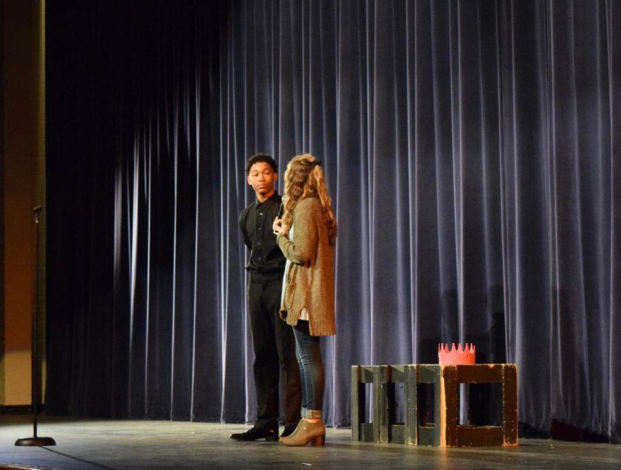 Xavier Maxwell and Sarah Oppmann, seniors, preforming a duet.