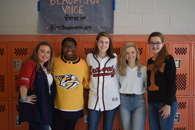 Blackman Voice Staff: Savannah Blades, Ashlee Jarrett, Juniors, and Kylie Tarver, Katelyn Morrow, and Maddy Williams, Sophomores.