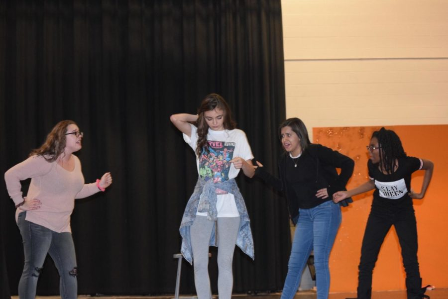 Valentina Rodriguez(Florinda), Jasmine Robinson(Lucinda) and Savannah Blades(Cinderella's step-mother) sing to Olivia Sorrell(Cinderella) about what she has to do to go to the festival.