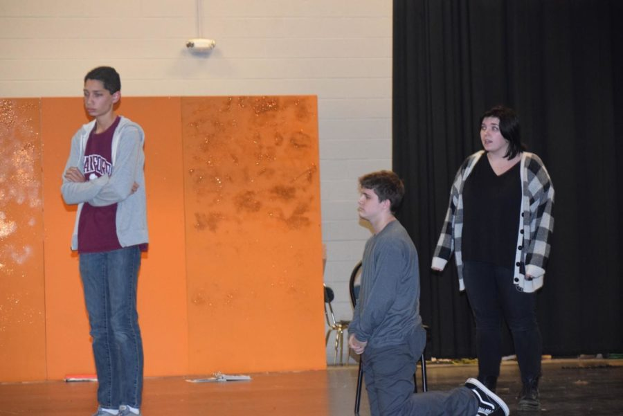 Aj Nelson(Jack),Ethan Wood(Milky White),And Emma Knake(Jack's Mother) practice the scene before Jack and his cow into the woods.