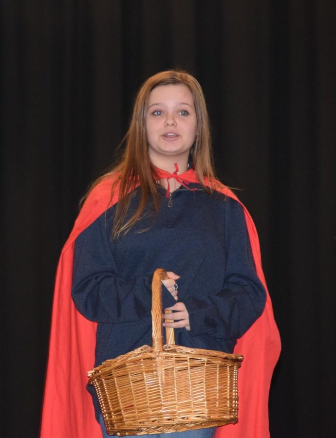 Ceylone Jones, one of our Little Red Riding Hoods, practices her solo in the prologue.