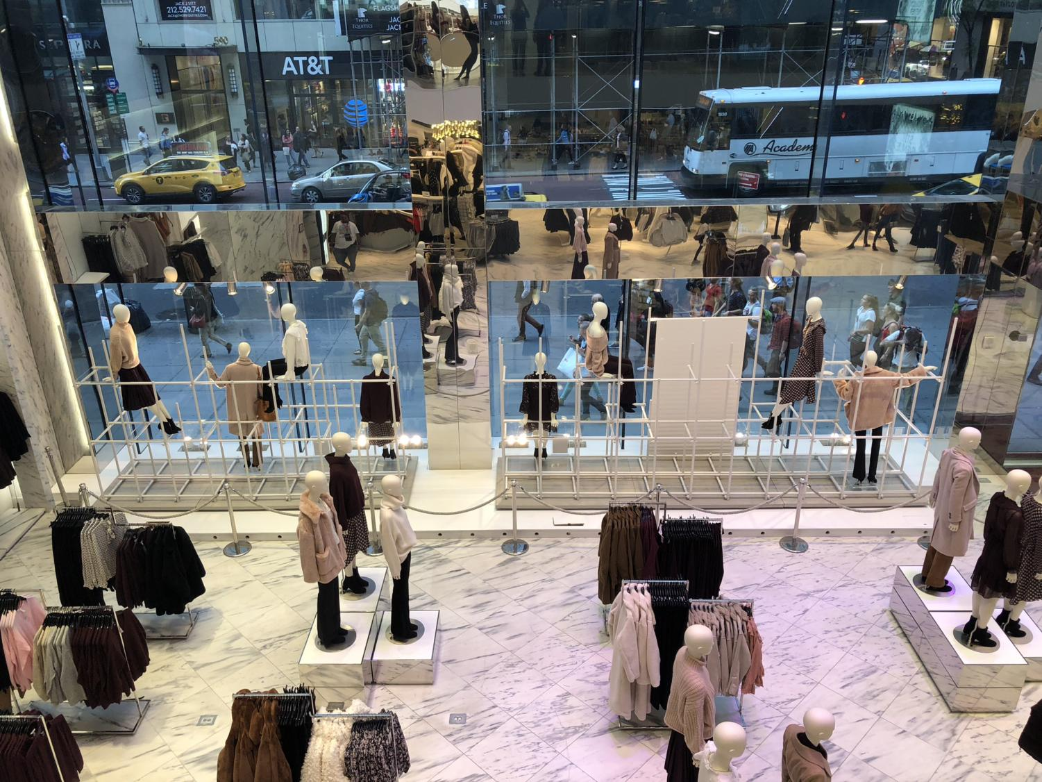 An overview of the H&M store.