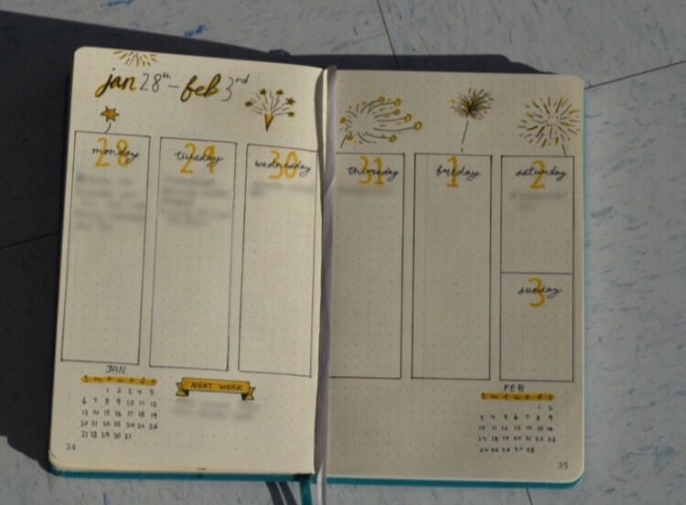 This is another weekly spread but with a different layout and a different theme; Fireworks.