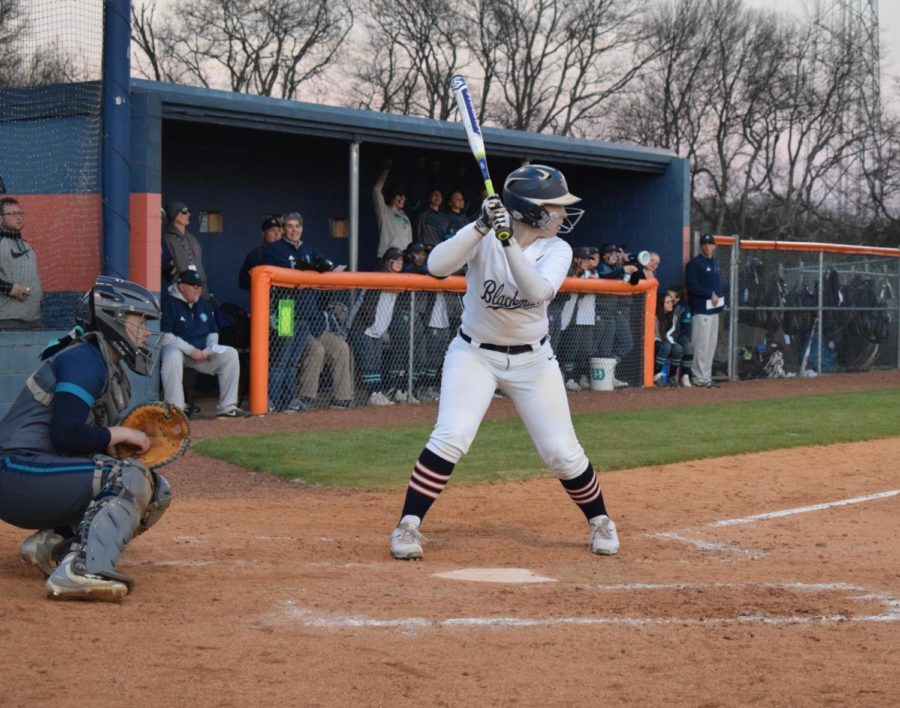 Elaina McGill getting ready for an at-bat.