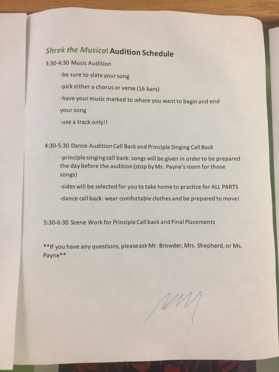 Information for Shrek Auditions.