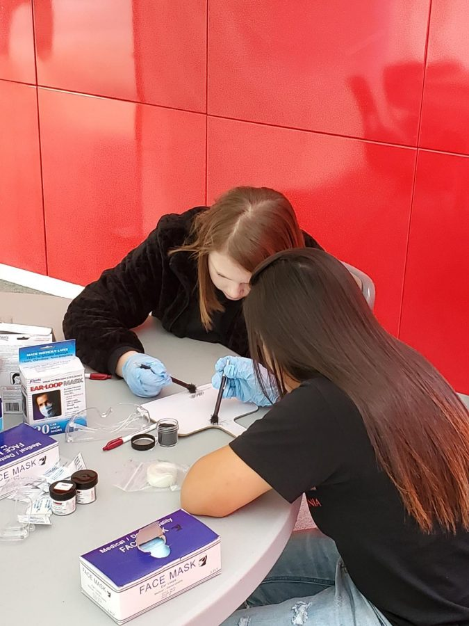 Students working on one of the aspects of the competition.