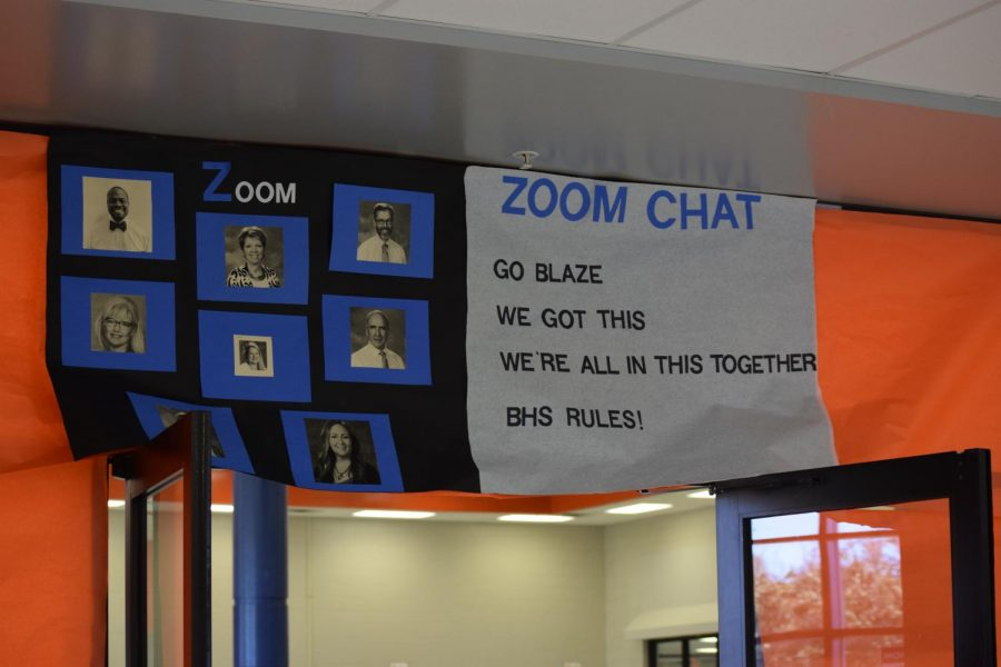 A zoom-themed poster shows appreciation for staff.