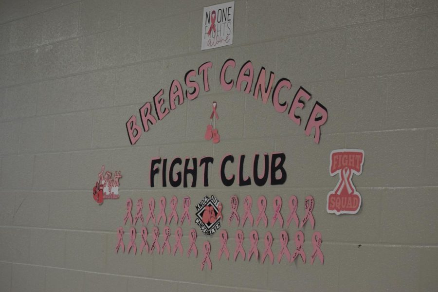 Breast Cancer Fight Club wall outside of E-08 to show support for those who have fought Breast Cancer