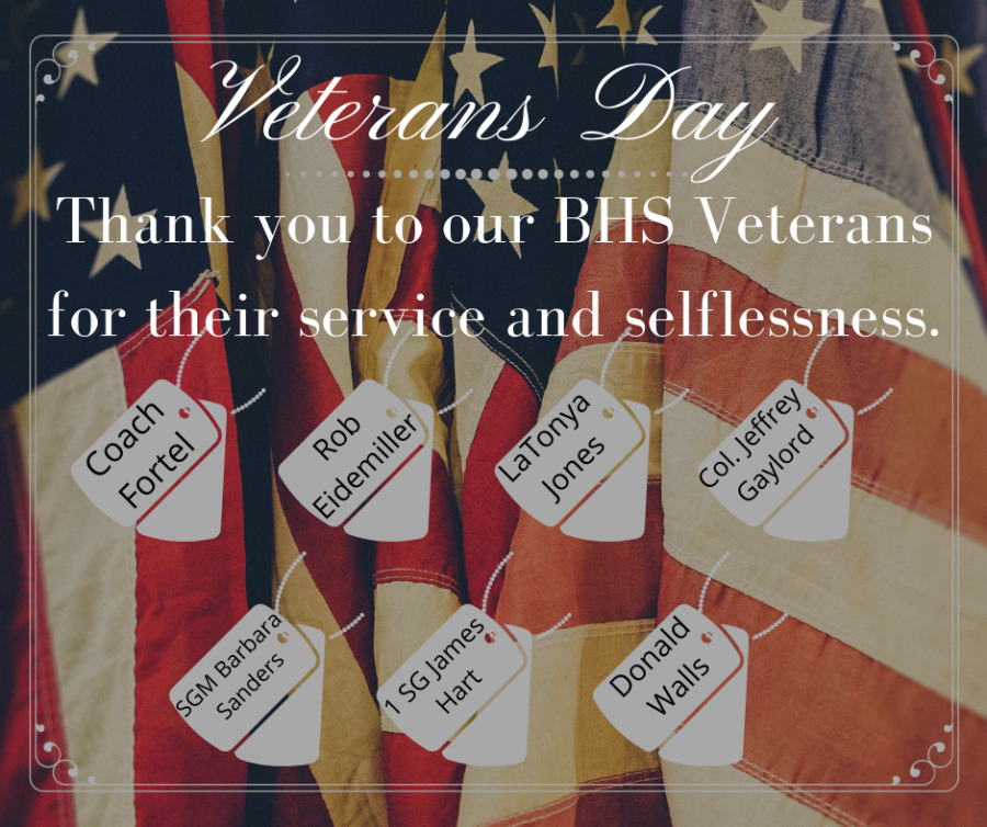 This graphic displays Blackman High School's veterans. Thank you for your service.