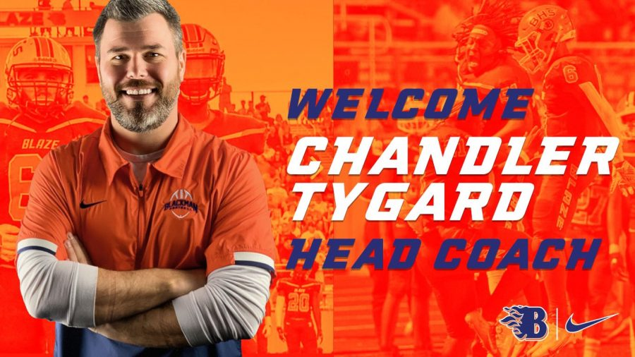 Chandler Tygard was chosen as Blackman High School's new football coach.