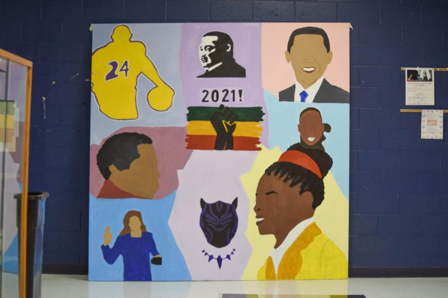 Student artwork is displayed in A-Hall to celebrate Black History Month.