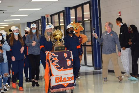 The Lady Blaze celebrated their state championship with a hall parade on Thursday.