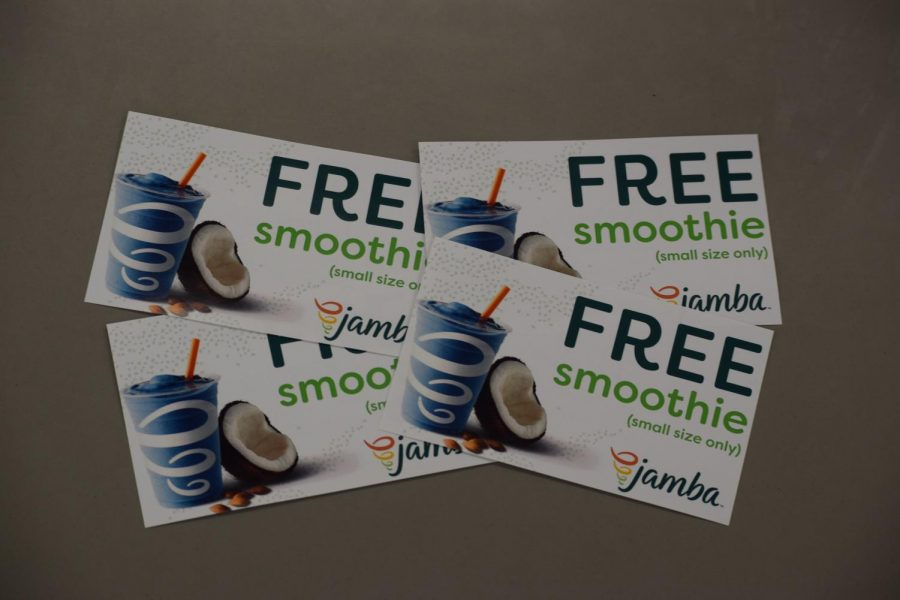 Marilyn Roberts and Paige Swanson won a Jamba Juice family pack of 4 coupons for participating in our March Madness Jeans Week!