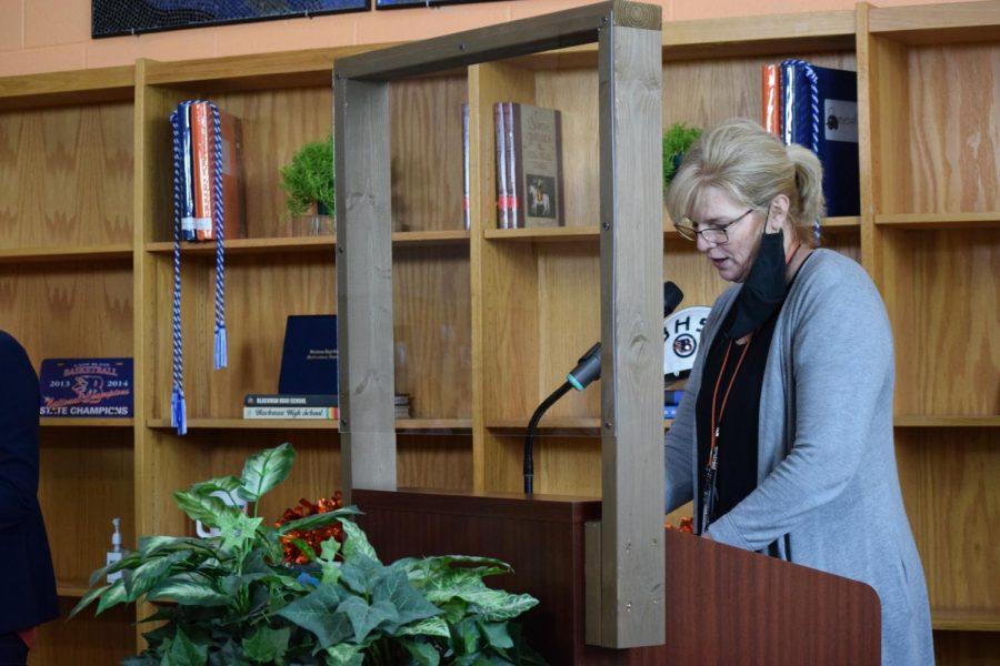 Jackie Wilder, senior class counselor, spoke after Leisa Justus.