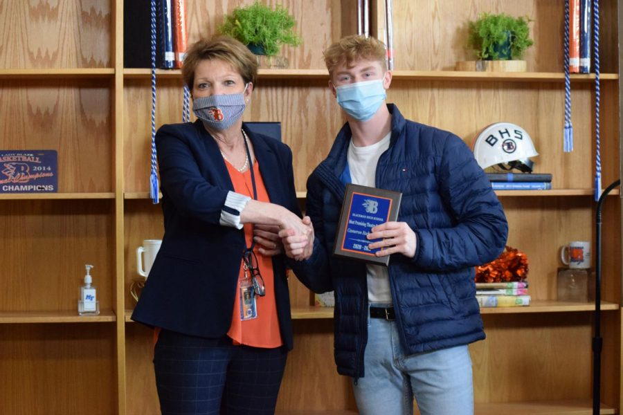 Cameron Eschenfelder was awarded the plaque for Most Promising Theatre Student.