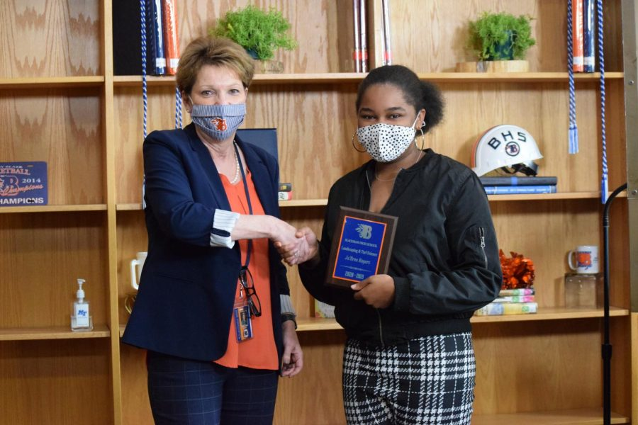 JaBrea Rogers won the Landscaping and Turf Science award.