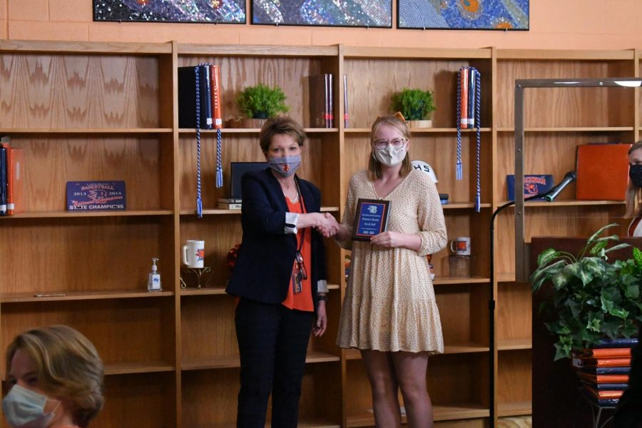 Sarah Hall won the Women's Chorale and Student Body President awards.