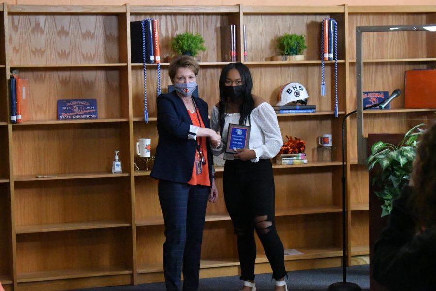 Jordan Henley won the Criminal Justice, Yearbook Designer, and Senior Class Vice President awards.
