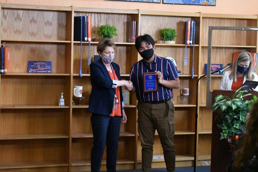 Jeloux Enriquez won the Student Body Treasurer, Valedictorian, AP English IV, Outstanding Theater Student awards.