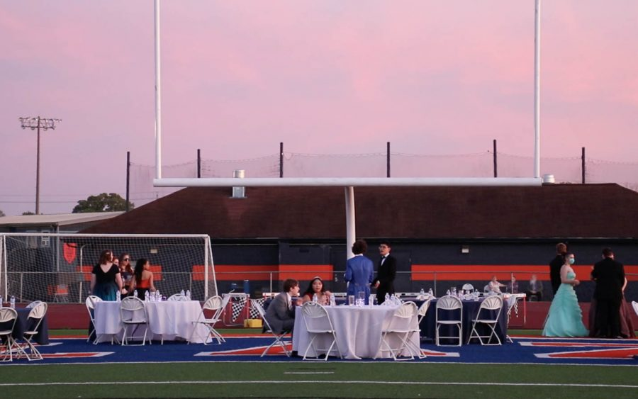 Tables were located under one of the fields goalposts.