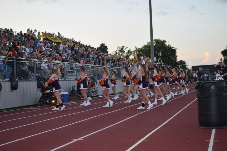 The cheerleaders and student section for Blackman High School right before the start of the first home game.