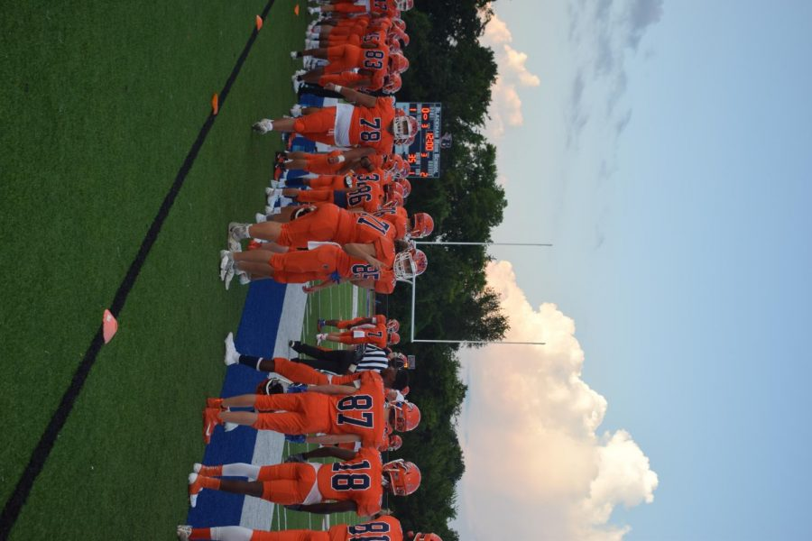 A picture of the Blackman Blaze football team before the first home football game.