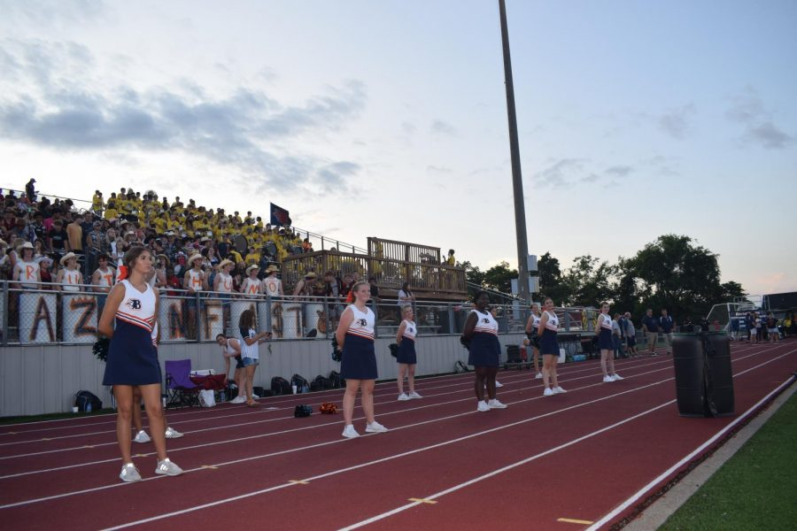 The dance team and student section for Blackman High School right before the start of the first home game.