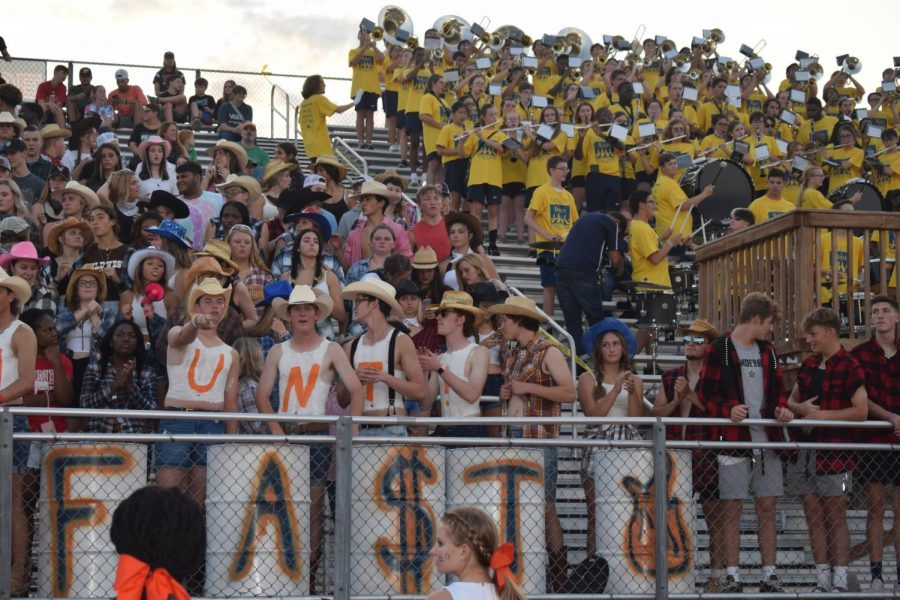 A picture of the band and seniors from Blackman High school, before the start of the first home football game.