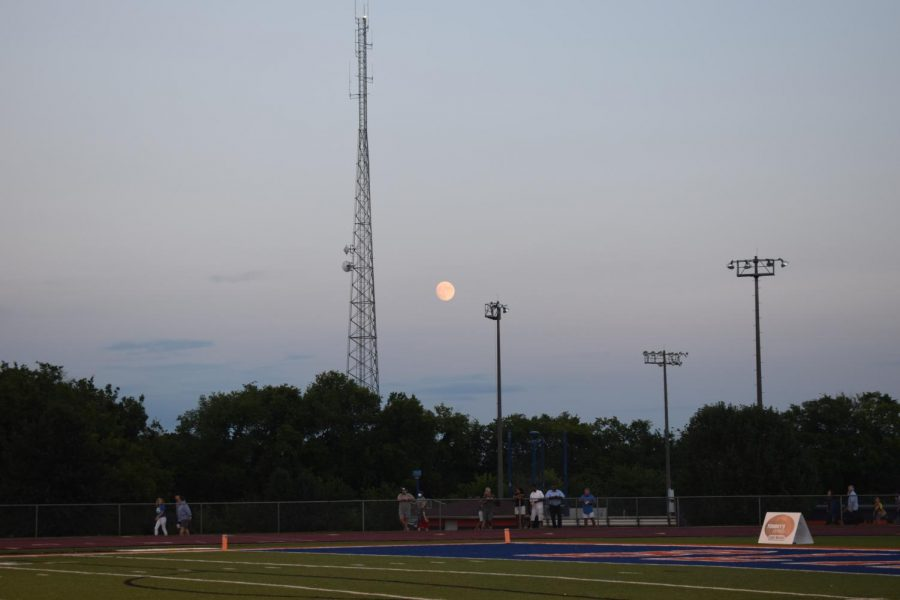 A picture of the full moon on the night of the first home football game against Brentwood.