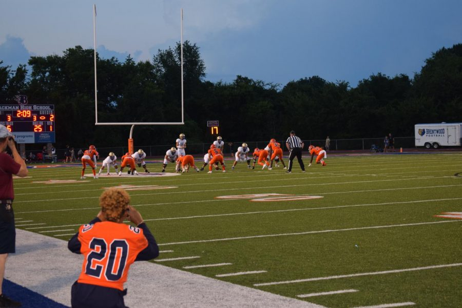 An over the shoulder shot of the Blackman Blaze and Brentwood in position to play.