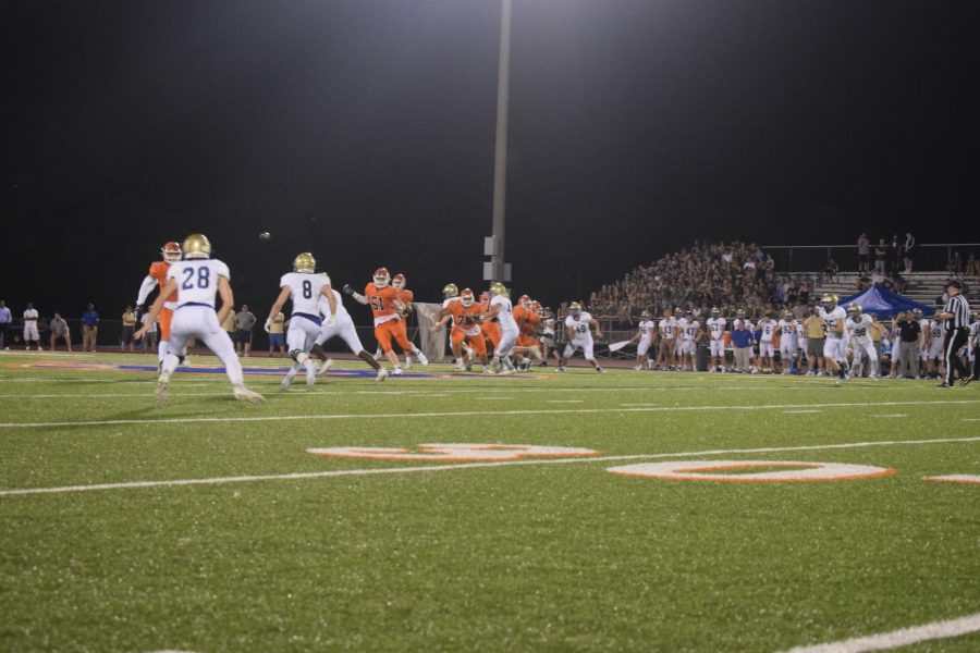 The Blackman Blaze and Brentwood football teams during the first home football game.