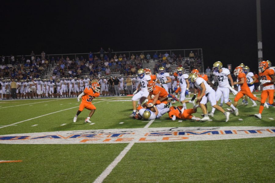 A large pile up with the Blackman Blaze football team and the Brentwood football team during the first home football game.