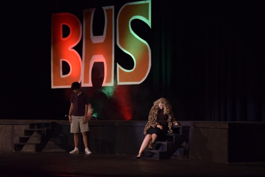 Caleb Heath and Erin Seifert, seniors, perform Suddenly Seymour from the movie Little Shop of Horrors.
