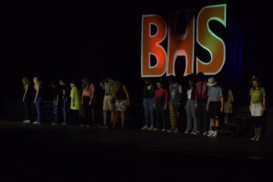 Musical Theatre class performs Dancing Through the Decades, including music from TikTok and Michael Jackson.