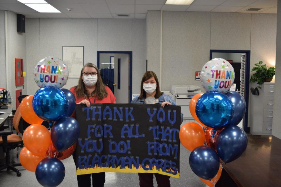 Blackman Cares gives balloons and an appreciation sign to the front office and guidance counselors.