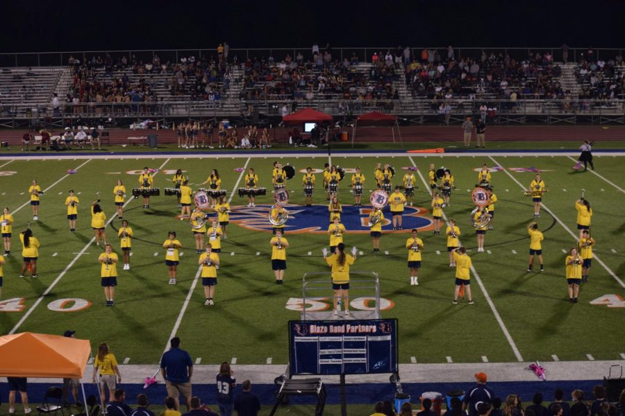 The Blackman Blaze Marching Band plays during halftime.