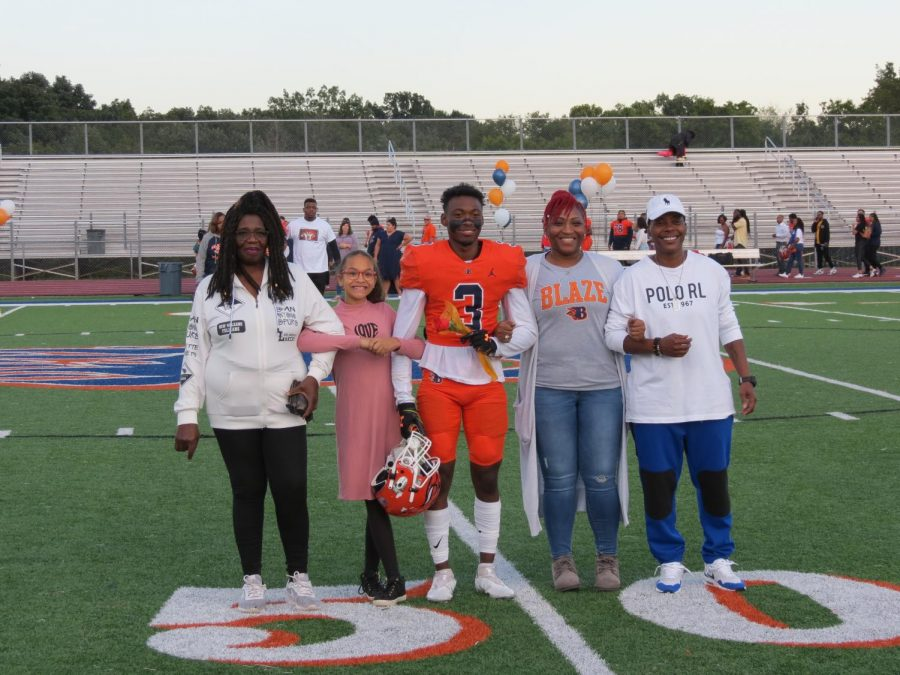 Dumikah Dowdy is honored during the Senior Night ceremony before the football game.