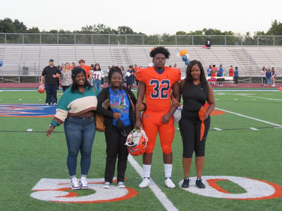 Kentrell Marshall is honored during the Senior Night ceremony before the football game.