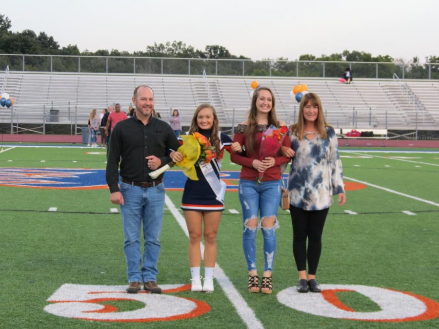 Leah Hughes is honored during the Senior Night ceremony before the football game.