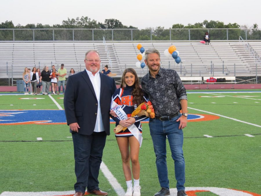 Skyler Morrison is honored during the Senior Night ceremony before the football game.